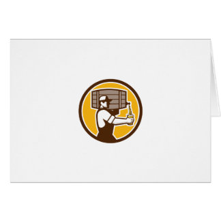 Bartender Carrying Keg Pouring Beer Circle Retro Card