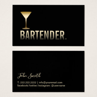 Bartender Modern Gold Martini Glass Bar Business Card