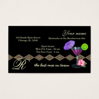 Bartender/Owner Bar Business Card
