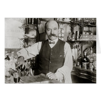 Bartender Pouring Drink, 1910 Card