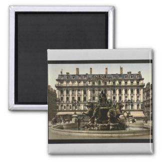 Bartholdi Fountain, Lyons, France vintage Photochr Square Magnet
