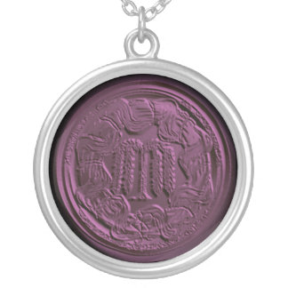 bas relief willow mourning silver plated necklace
