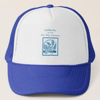 BASE_15X15 BORDERLESS First Communion, Blue Trucker Hat