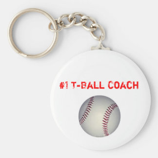 baseball, #1 T-Ball Coach Basic Round Button Key Ring