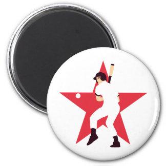 baseball 6 cm round magnet