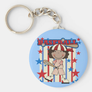 BASEBALL African American Girl T-shirts and Gifts Basic Round Button Key Ring