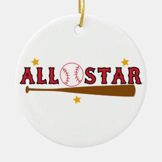 Baseball All Star Ceramic Ornament