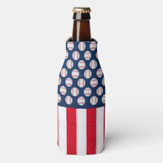 Baseball & American flag bottle cooler