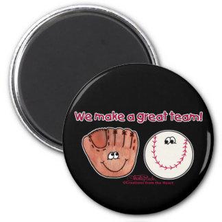 Baseball and Baseball Glove Team 6 Cm Round Magnet