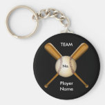 Baseball and Crossed Bats Customisable Basic Round Button Key Ring