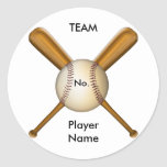 Baseball and Crossed Bats Customisable Round Stickers