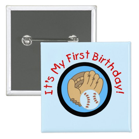 Baseball and Glove 1st Birthday Tshirts and Gifts 15 Cm Square Badge