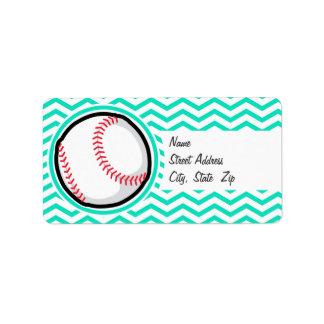 Baseball; Aqua Green Chevron Label