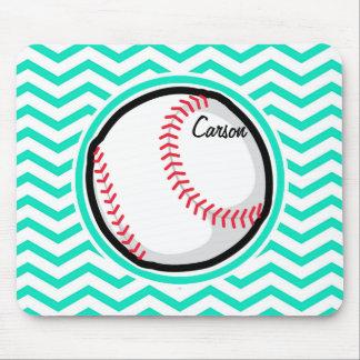 Baseball Aqua Green Chevron Mouse Pad
