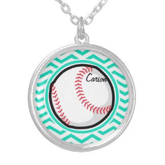 Baseball Aqua Green Chevron Necklaces