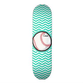 Baseball Aqua Green Chevron Skate Deck
