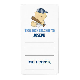 Baseball Baby Shower Bookplate Shipping Label