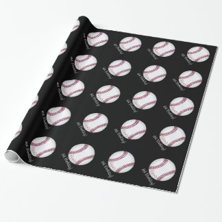 Baseball Ball Boy Birthday Personalized Name Wrapping Paper