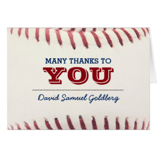 Baseball Bar Mitzvah Thank You Note Card