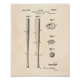 Baseball Bat 1939 Patent Art - Old Peper Poster
