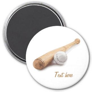 Baseball bat 7.5 cm round magnet