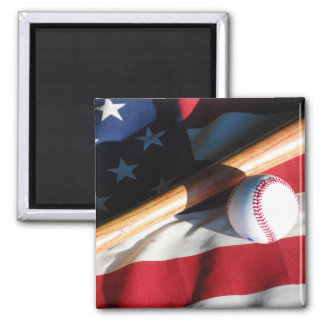 Baseball, Bat and American Flag Magnet