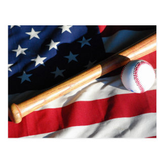 Baseball, Bat and American Flag Postcard
