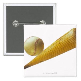 Baseball bat and ball pinback button