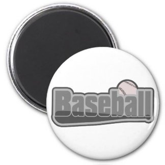 Baseball Bat and Ball Grey Fridge Magnet