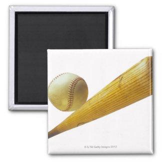 Baseball bat and ball square magnet