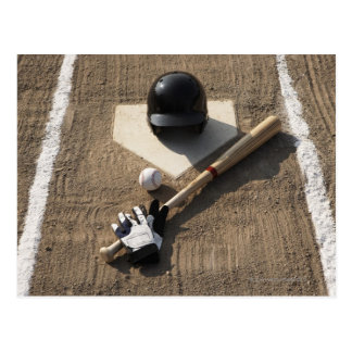 Baseball, bat, batting gloves and baseball postcard
