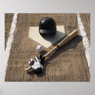 Baseball, bat, batting gloves and baseball poster