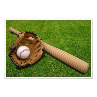 Baseball Bat with Glove and Baseball Photo Print