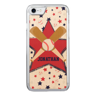 Baseball Bats Ball and Stars Carved iPhone 7 Case
