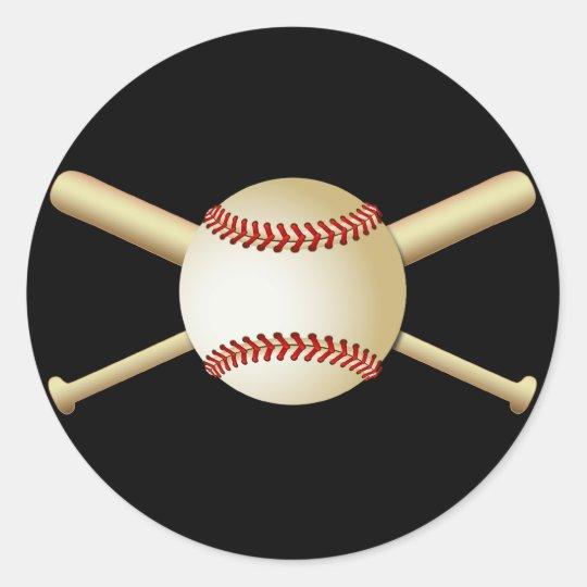 BASEBALL & BATS CLASSIC ROUND STICKER