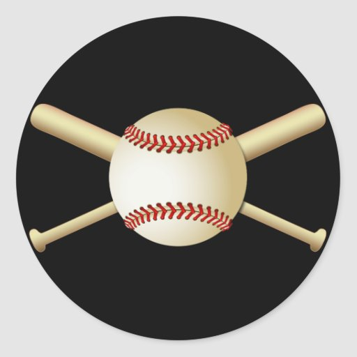 BASEBALL & BATS ROUND STICKER