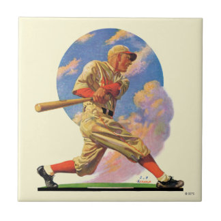 Baseball Batter Ceramic Tile