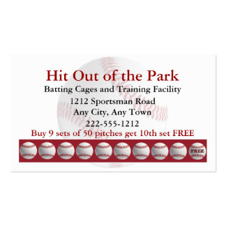 Baseball Batting Cage Sports  Loyalty Punch Card Pack Of Standard Business Cards