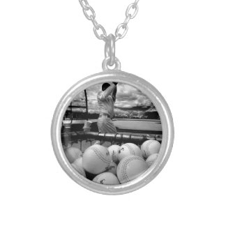 Baseball Batting Practice Silver Plated Necklace