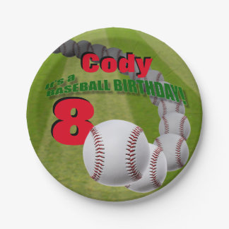 Baseball Birthday - custom PAPER PLATES 7 Inch Paper Plate