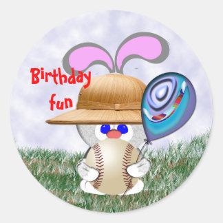 Baseball Birthday Fun Round Stickers