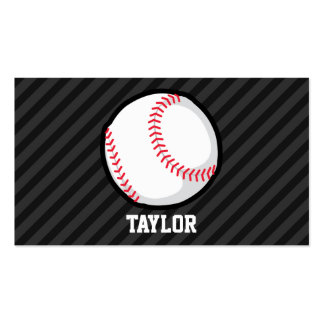 Baseball; Black and Dark Gray Stripes Double-Sided Standard Business Cards (Pack Of 100)
