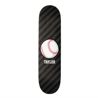 Baseball; Black and Dark Gray Stripes Skateboard Decks