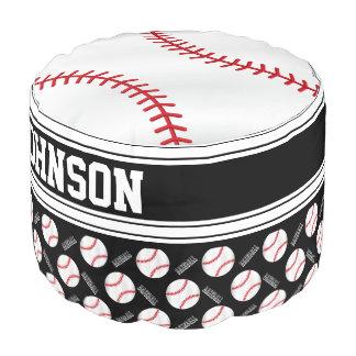 Baseball Black Sport Pattern Pouf
