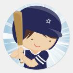 Baseball Boy Batter in Blue and White Round Sticker