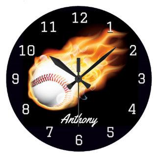 Baseball Boy's Room Personalized Large Clock