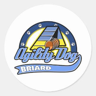 Baseball Briard Agility Round Sticker