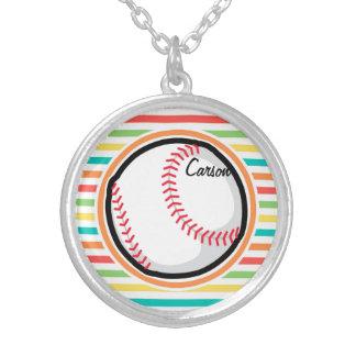 Baseball Bright Rainbow Stripes Personalized Necklace