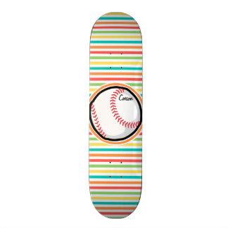 Baseball Bright Rainbow Stripes Skateboard Decks