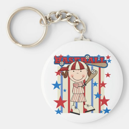 BASEBALL Brunette Girl Tshirts and Gifts Key Chain